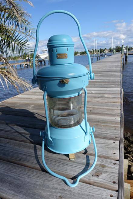 Satin Aqua hand painted ship's nautical light