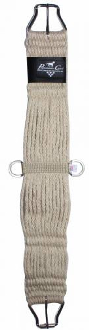 Hand woven from all natural fibers that are strong, soft  and have natural elasticity Features stainless steel D- rings and a  roller buckle for easy cinching  NOTE:  Due to the natural fiber of this item, it will initially be smaller than sized but will stretch to fit correct sizing upon usage.