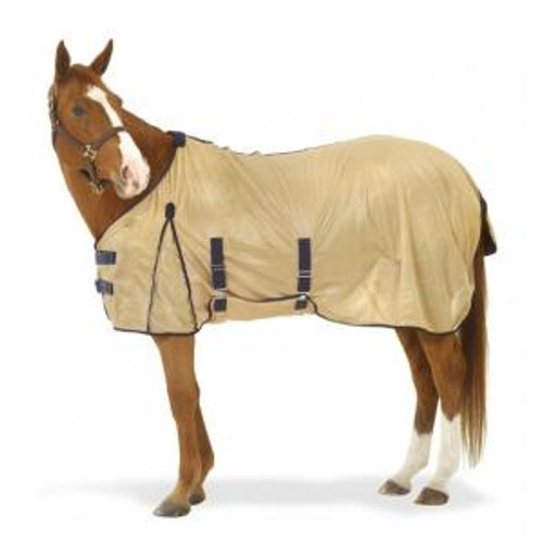 Features a super soft mesh fabric Tough Velcro hook and loop front closure Shoulder gusset and wither relief Belly band for added fly protection Adjustable and removeable leg straps  Standard tail flap Available in Beige with Navy trim