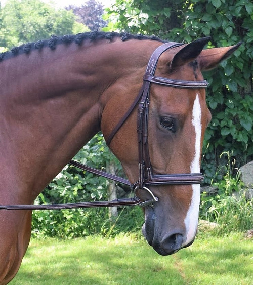 Beautiful square raised fancy stitch styling Ergonomic uni- crown styling Padded noseband