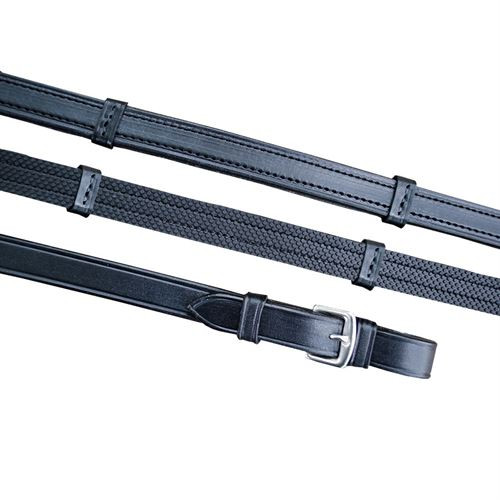 Made of top quality English leather Looks like standard leather reins with hand stops from the outside but are lined with a layer of rubber for easy grip !