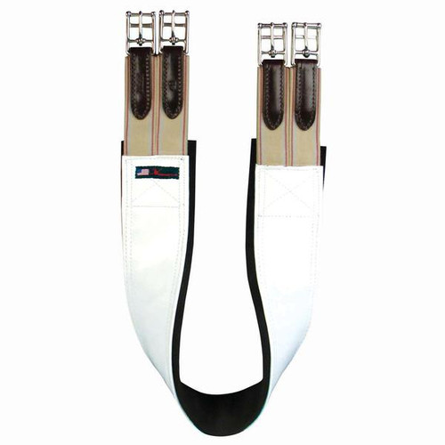 Slip proof removeable backing for a secure fit Made of white patent vinyl The most popular girth on the show horse market!