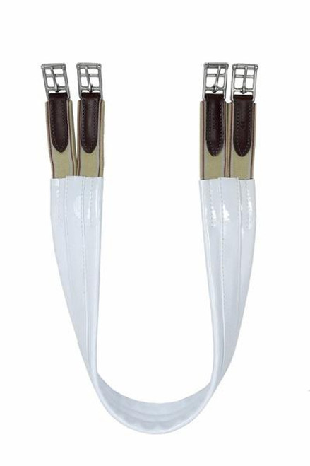White patent shaped show girth with double elastic ends Non chaffing, non cracking The most popular show girth on the Saddlebred show circuit