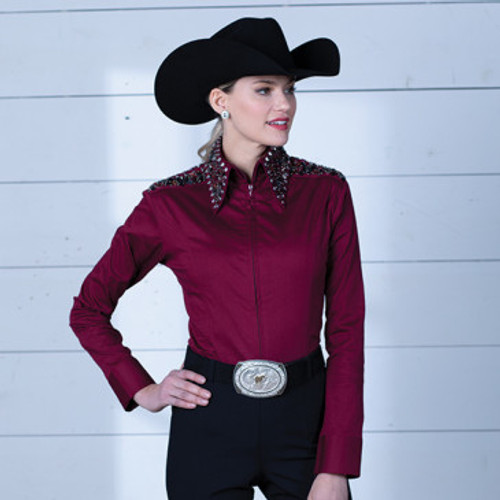 RHC EQUESTRIAN RIDING APPAREL LADIES WESTERN RHINESTONE ZIP UP FITTED SHIRT- MAROON