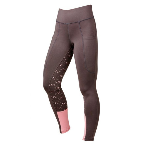 DUBLIN PERFORMANCE COOL-IT DOT PRINT GEL RIDING TIGHTS-GREY