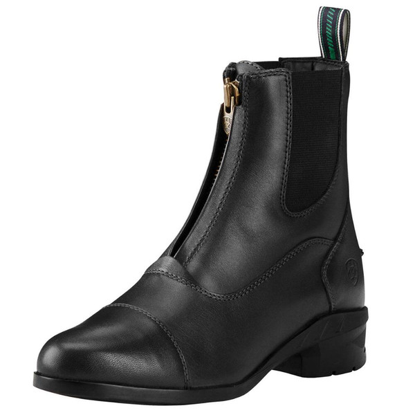 Ariat Heritage IV paddock boot features superior craftmanship Full grain imported leather Antique brass zipper Padded collar Shock absorbing heel cushion