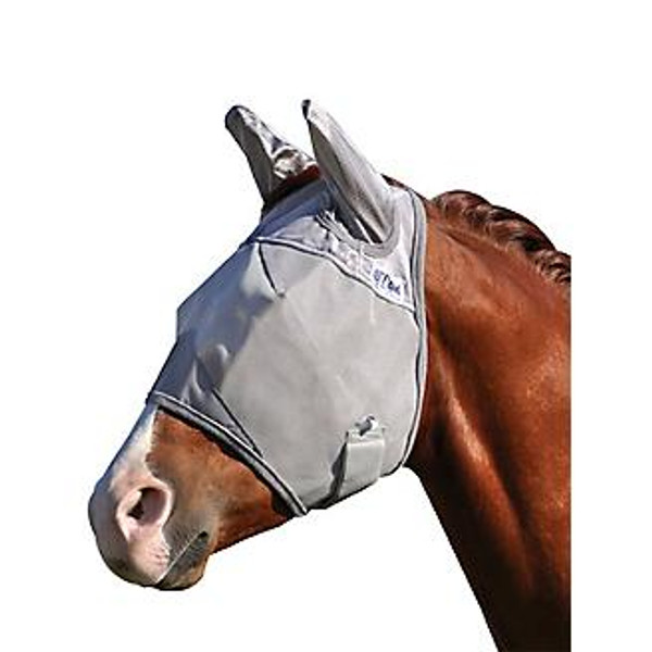 Rated #1 by clinicians and equine publications Style: With ears Soft coated nylon micro mesh blocks 70% harmful UV rays Split top opening for forelock Outstanding protection against flies and insects