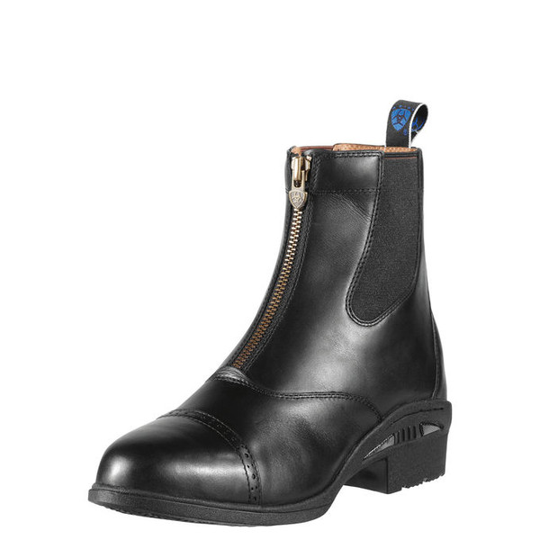 Elegant full grain leather with punched toe cap Antiqued quality YKK zipper Famous Ariat footbed