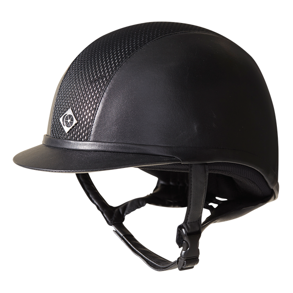 Low profile design Side panels covered in leather look material Helmet fits riders with a more oval shaped head