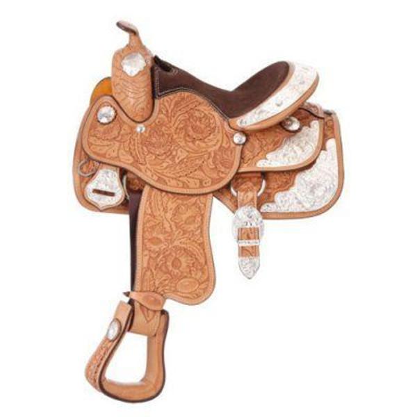 "Tough 1 Silver Royal Premium Grand Majestic Silver Western Show Saddle- 15 1/2"" Wide Tree"