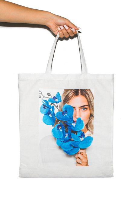 Tote Bag - White Blue Flower