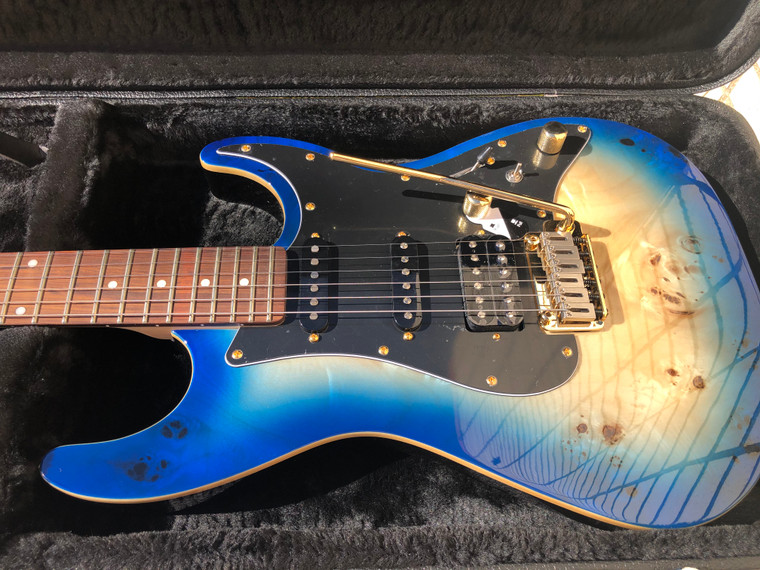 Michael Kelly Blue Burst Burl 60 Ultra Double Cutaway Electric With Locking Tremelo System