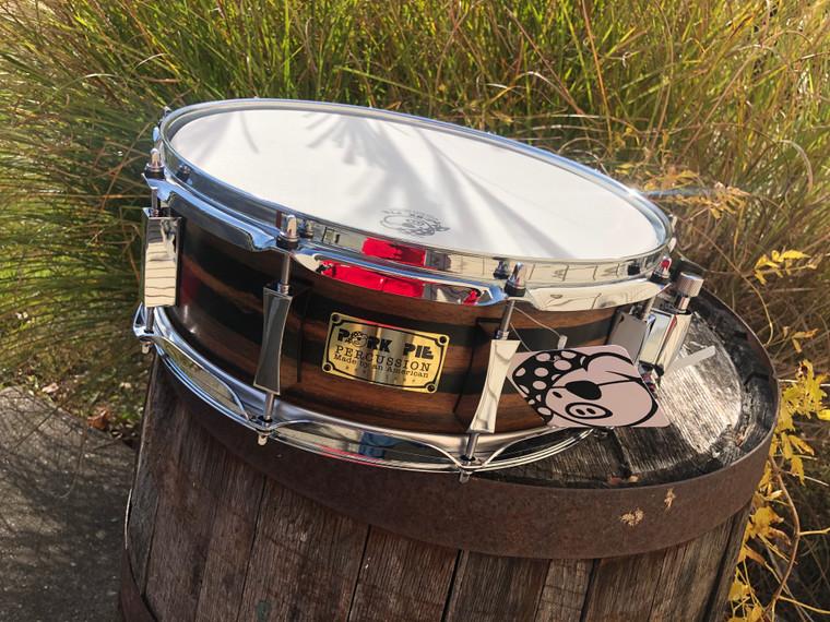 Pork Pie 5x14 9 Ply Oak / Ebony Custom Satin Snare Drum, 1 of a Kind  - Made in USA