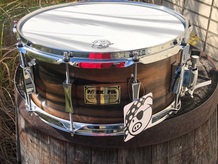 Pork Pie 6.5x14 9 Ply Oak + Ebony Custom Satin Snare Drum, 1 of a Kind  - Made in USA