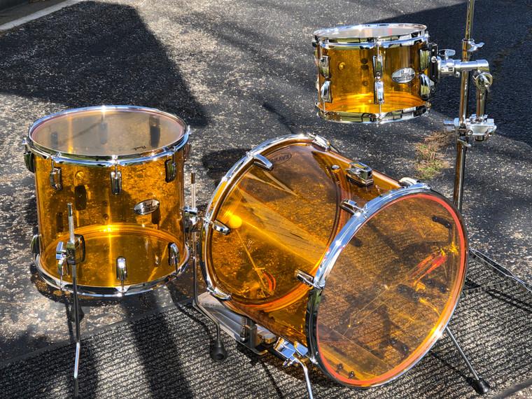 "CUSTOM Pearl Acrylic BOP Kit Crystal Beat 3pc Drum Set 18"" Tangerine ONE OF A KIND"