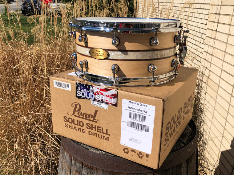 """Pearl Music City Custom Solid Maple 14""""x6.5"""" Snare Drum with Inlay"""