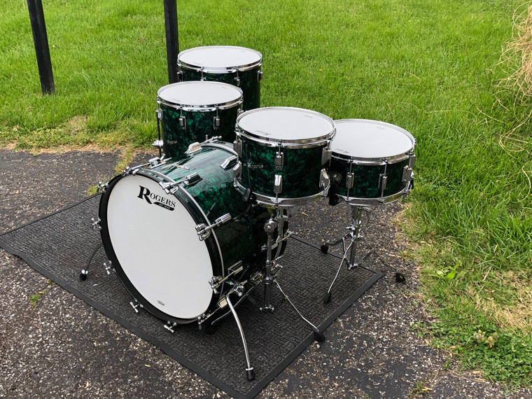 """Rogers 2021 USA Covington Green Marine Pearl Drum Set 22"""" Exclusive 5pc Shell Pack w Dynasonic Snare"""