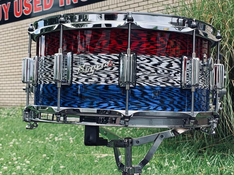 2021 Rogers Dyna-Sonic Patrionyx Snare Drum 6.5 x 14 RWB Red White Blue Oynx USA Limited Edition