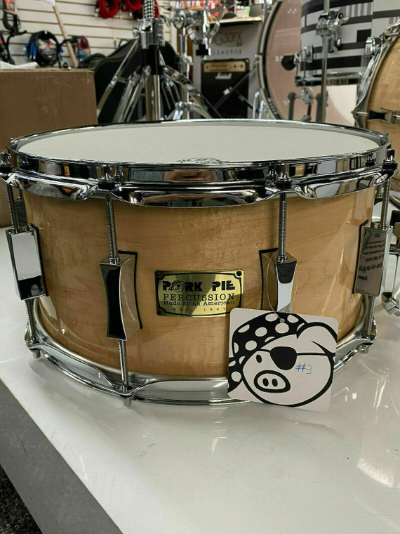 Pork Pie 6.5 x14 Curly Maple Snare Drum #3 of 4 Limited Edition With Case