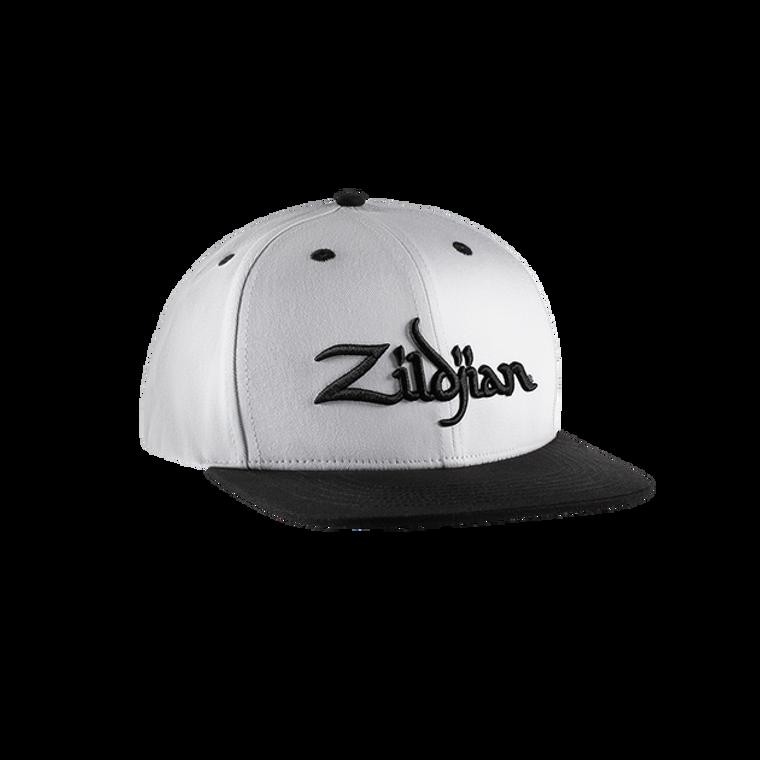 Zildjian White and Black Flat Bill Snapback Hat ZAHC0022 Drummer Hat