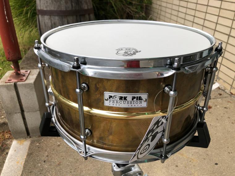 Pork Pie Percussion Brass Patina Snare Drum USA 6.5 x 14 w/ Polished Center Bead