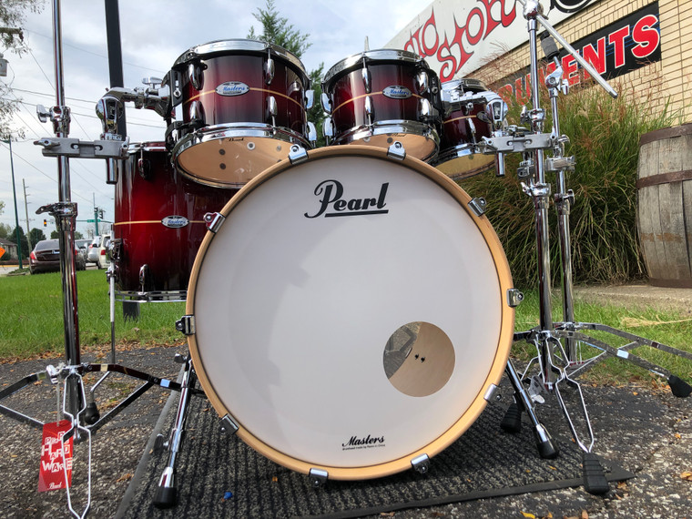 Pearl Masters Maple Complete Drum Set 4pc Shell Pack Natural Banded Redburst