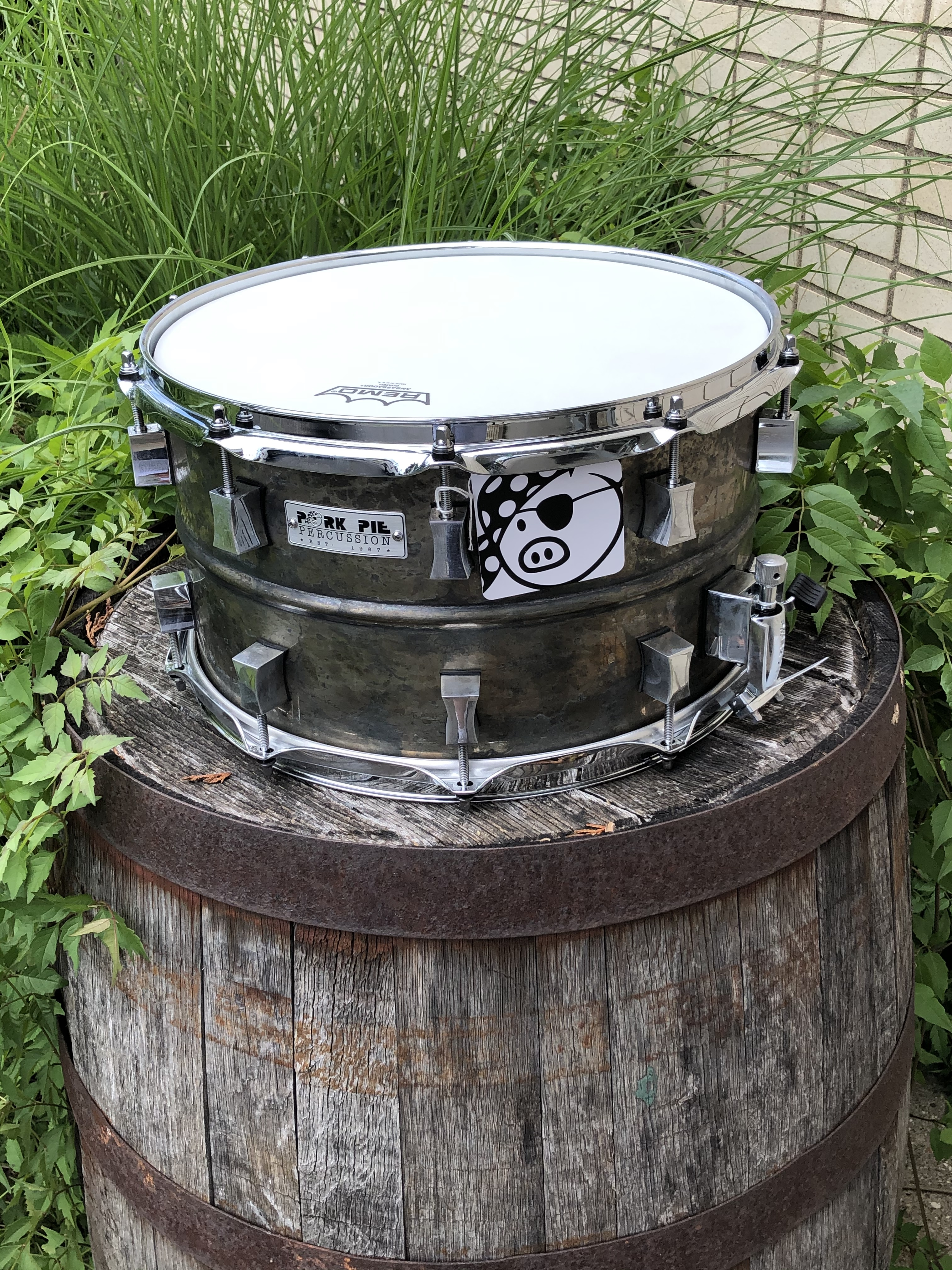 Pork Pie Usa Aged Patina Brass Snare Drum With Chrome Hardware 1 Of 1 Exclusive