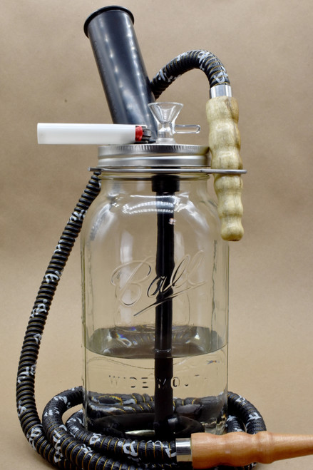 Stoned Mason Pipe + Hookah Style (half-gallon jar)