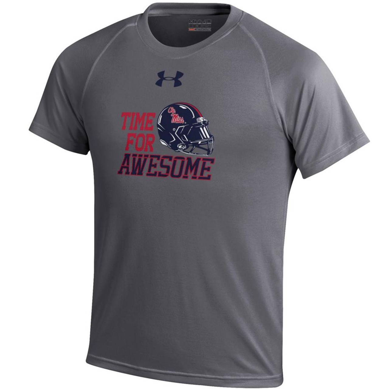 Carbon Heather Under Armour Ole Miss Rebels Boy's Tee