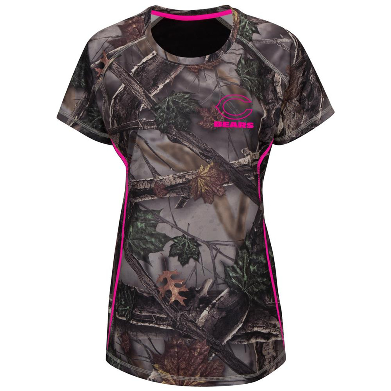 reputable site 9dcd4 a3489 Majestic Women's The Woods Chicago Bears Camo Tee