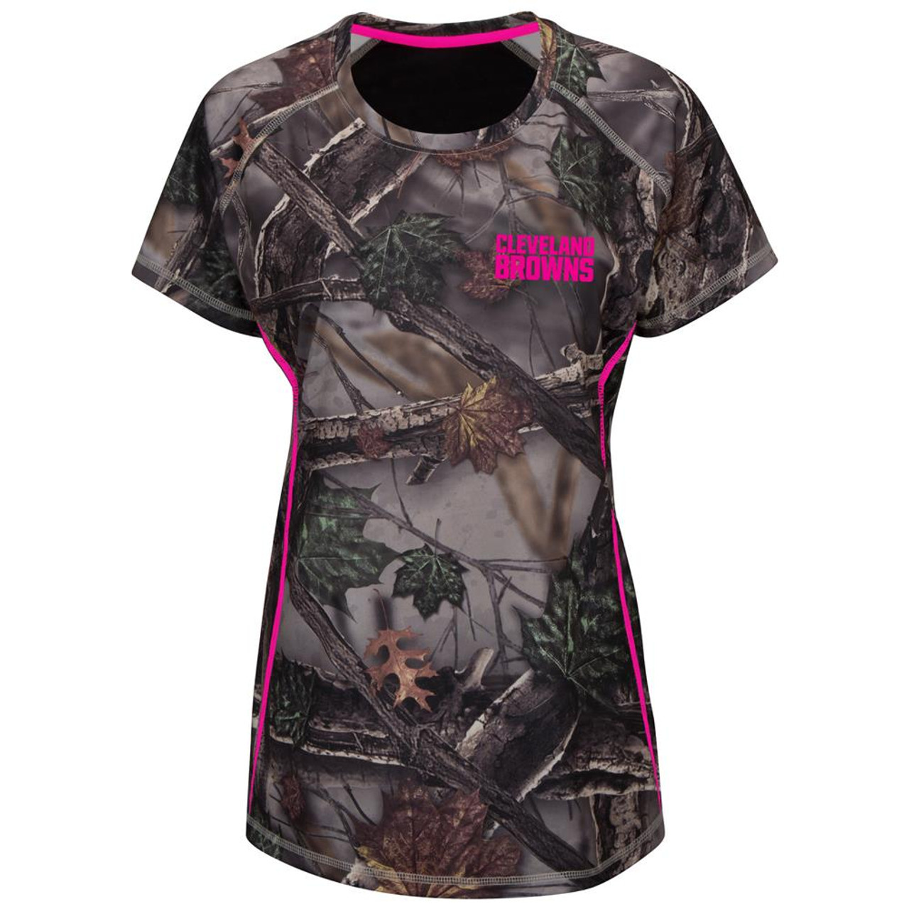 Majestic Women's The Woods Cleveland Browns Camo Tee