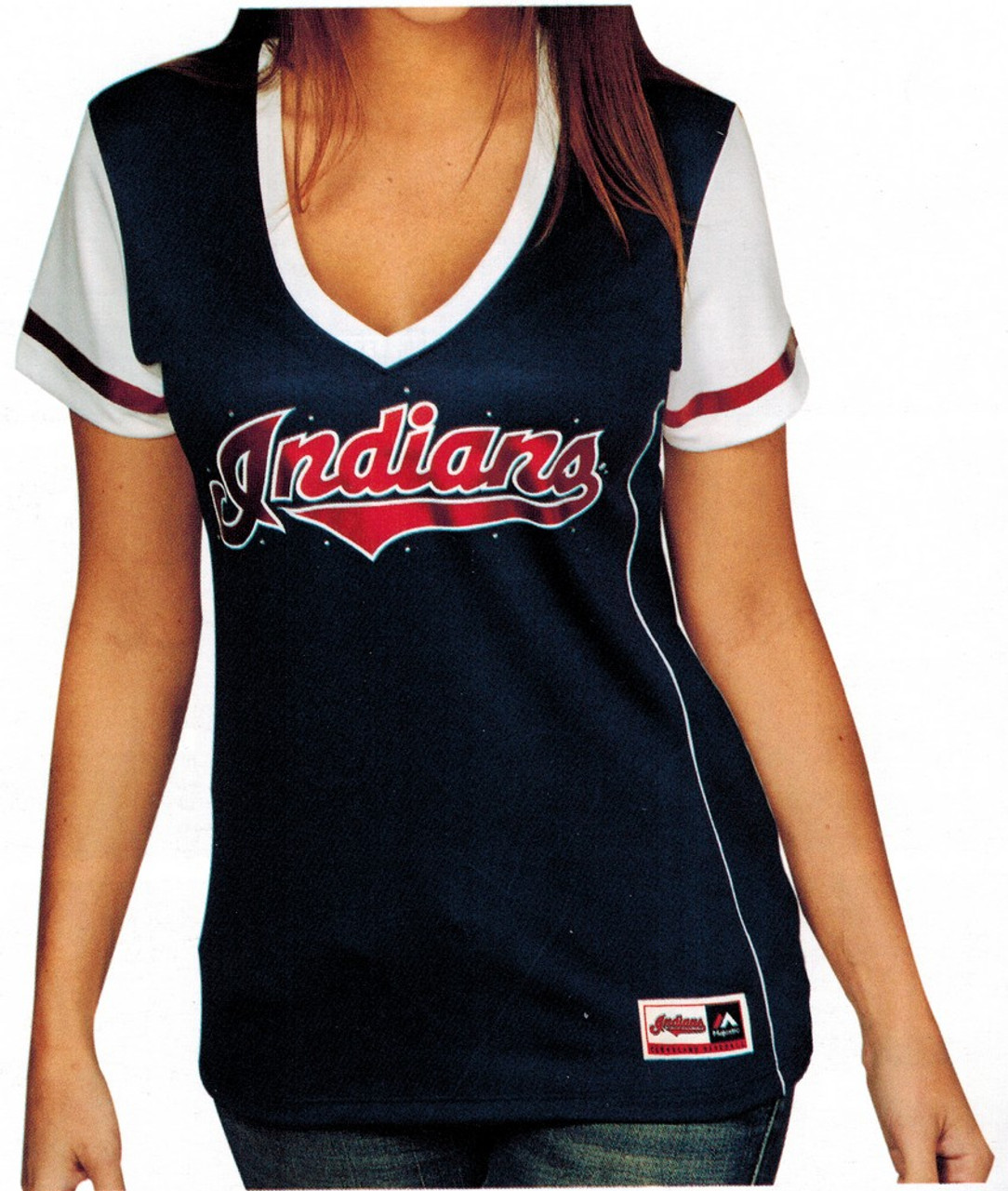 Ladies Chicago Cubs Tee Curveball Babe Deep V-Neck Top