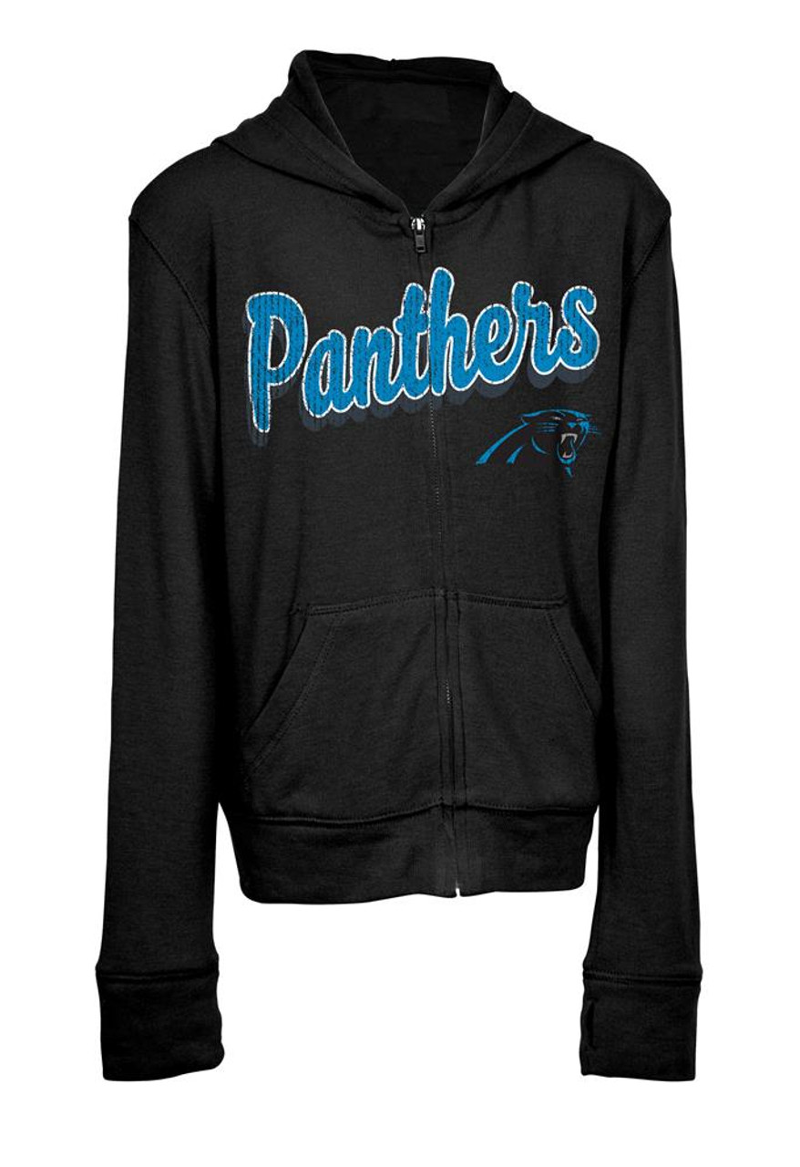 3d1661a7ded Girls Carolina Panthers Hoodie Full Zip Brushed Knit Jacket