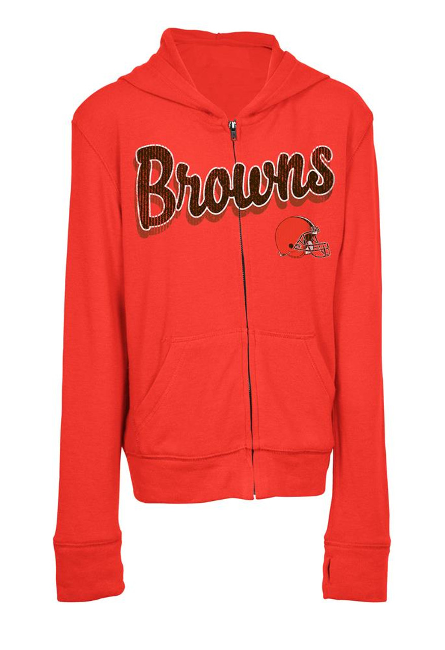 Girls Cleveland Browns Hoodie Full Zip Brushed Knit Jacket