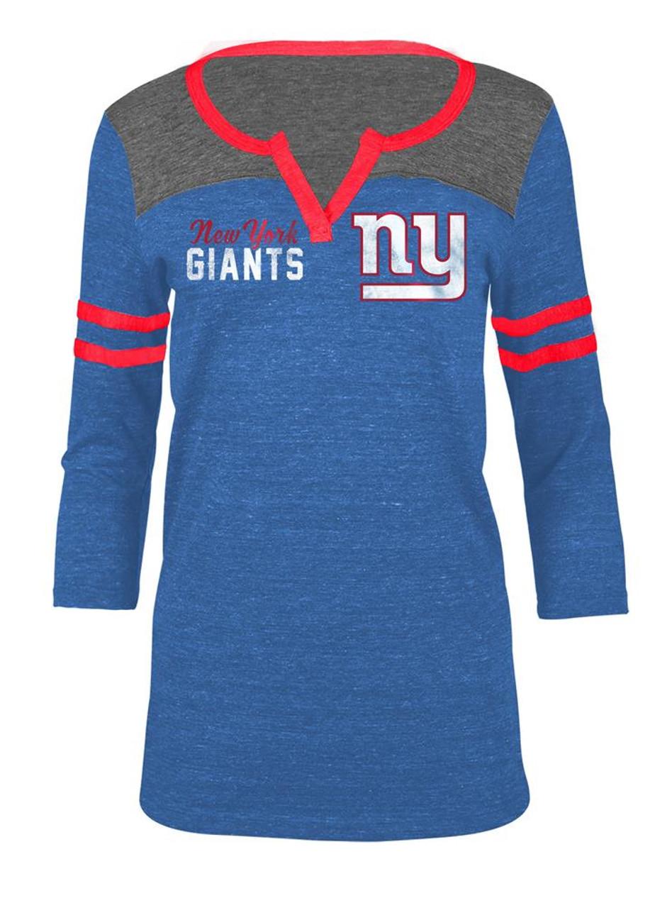 New York Giants NY T Shirt Ladies Henley Quarter Sleeve Tee