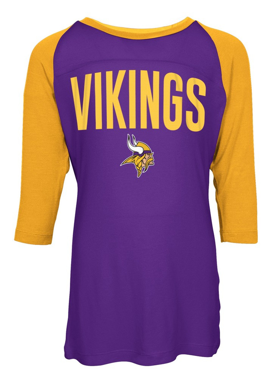 Minnesota Vikings Raglan Shirt Youth Girls Graphic Tee