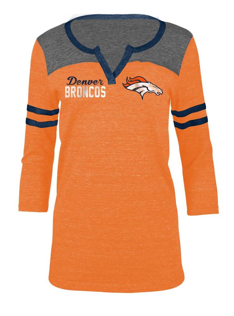 312ee185 Denver Broncos T Shirt Ladies Henley Quarter Sleeve Tee