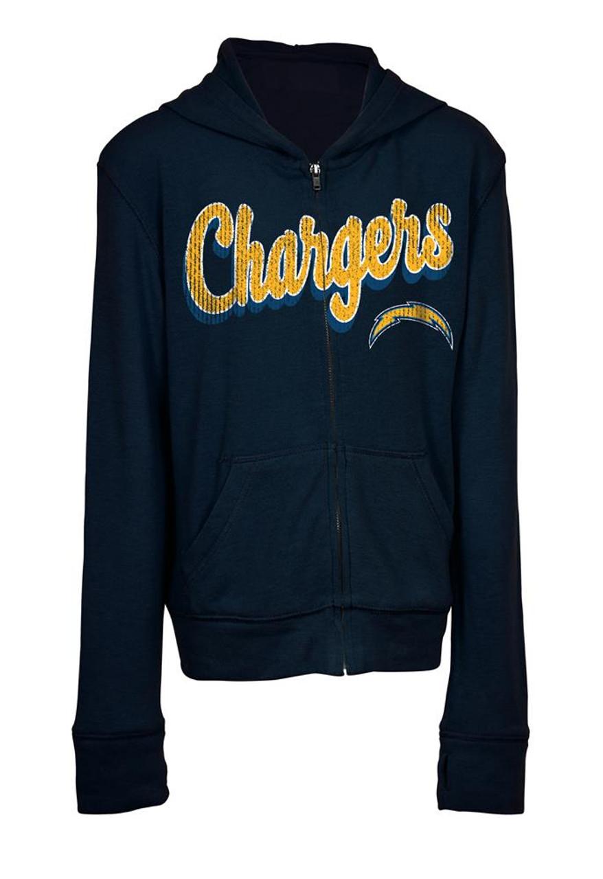 Girls Los Angeles Chargers Hoodie Full Zip Brushed Knit Jacket