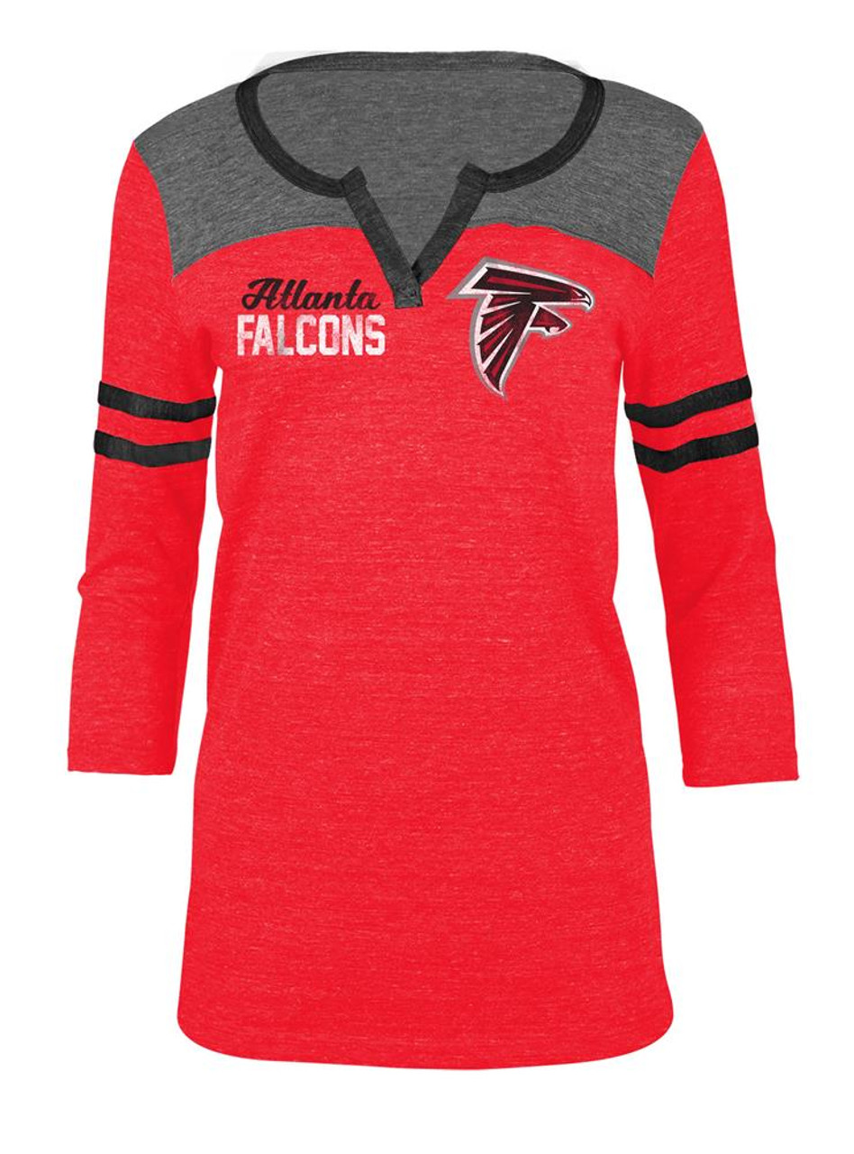 the latest 7c3c3 d6c3e Atlanta Falcons T Shirt Ladies Henley Quarter Sleeve Tee