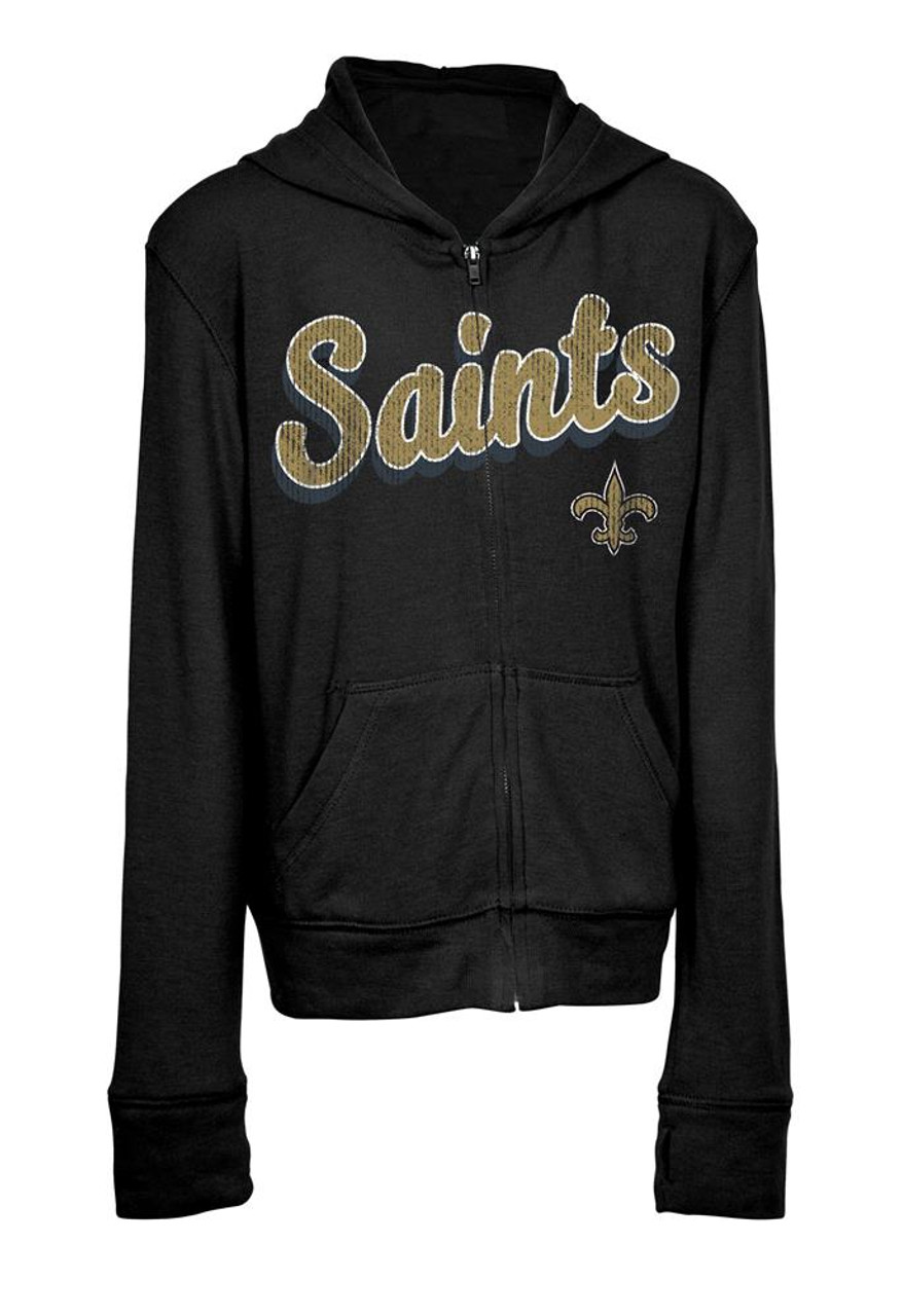 Girls New Orleans Saints Hoodie Full Zip Brushed Knit Jacket