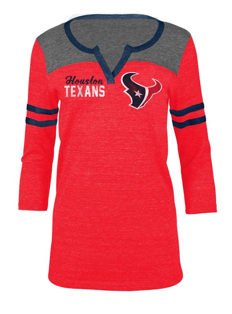 Houston Texans T Shirt Ladies Henley Quarter Sleeve Tee