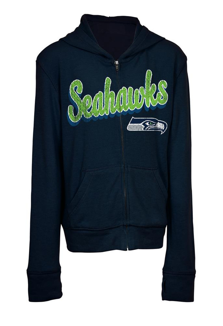 Girls Seattle Seahawks Hoodie Full Zip Brushed Knit Jacket