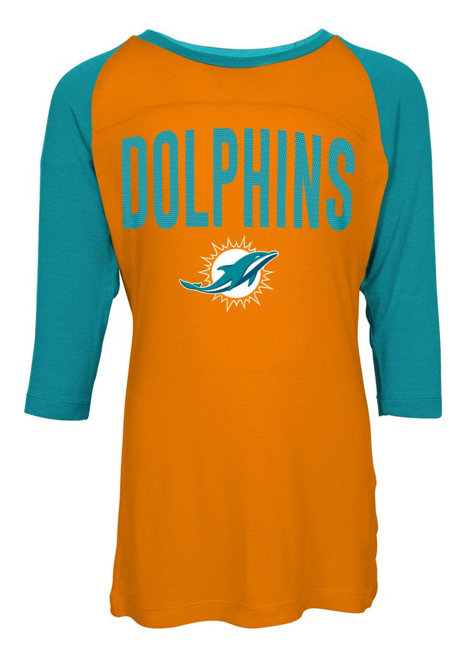 Miami Dolphins Raglan Shirt Youth Girls Graphic Tee