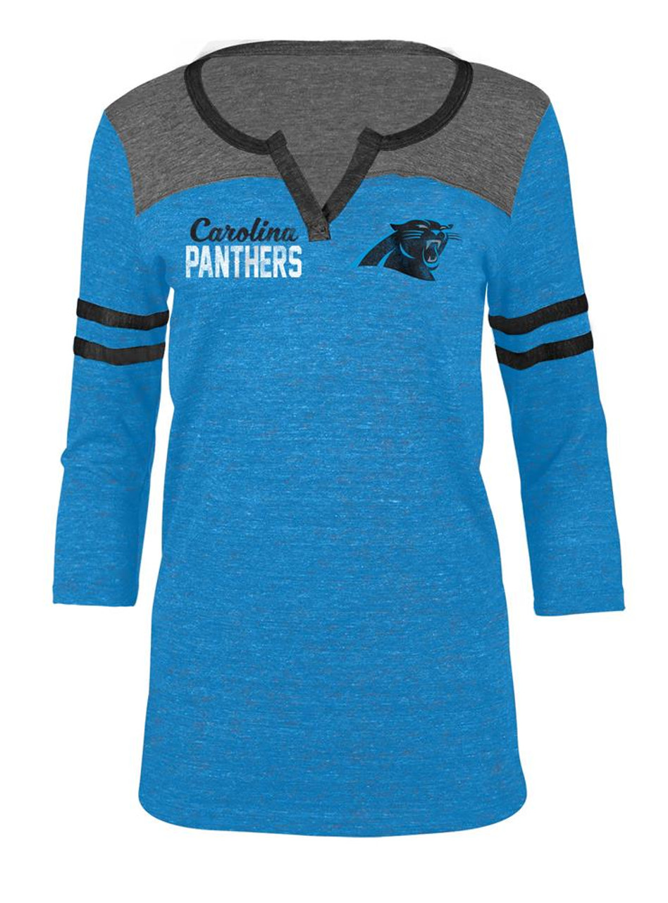 Carolina Panthers T Shirt Ladies Henley Quarter Sleeve Tee