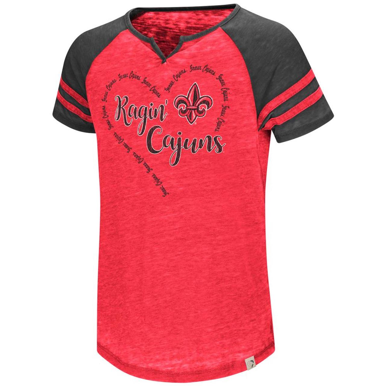Louisiana Lafayette Girl's Shirt Short Sleeve Raglan Tee