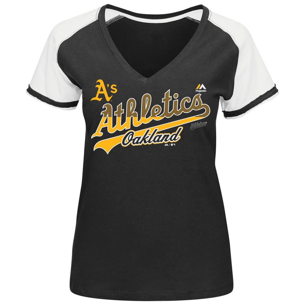 Oakland Athletics Short Sleeve Raglan V-Neck Tee