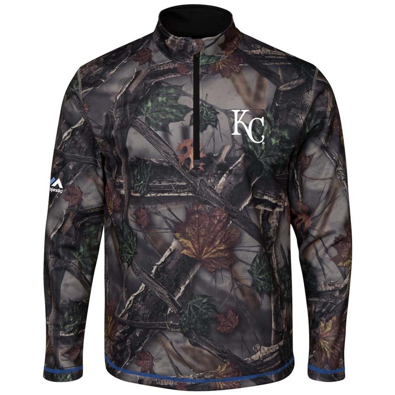 The Woods Majestic Kansas City Royals Camo 1/2 Zip Jacket