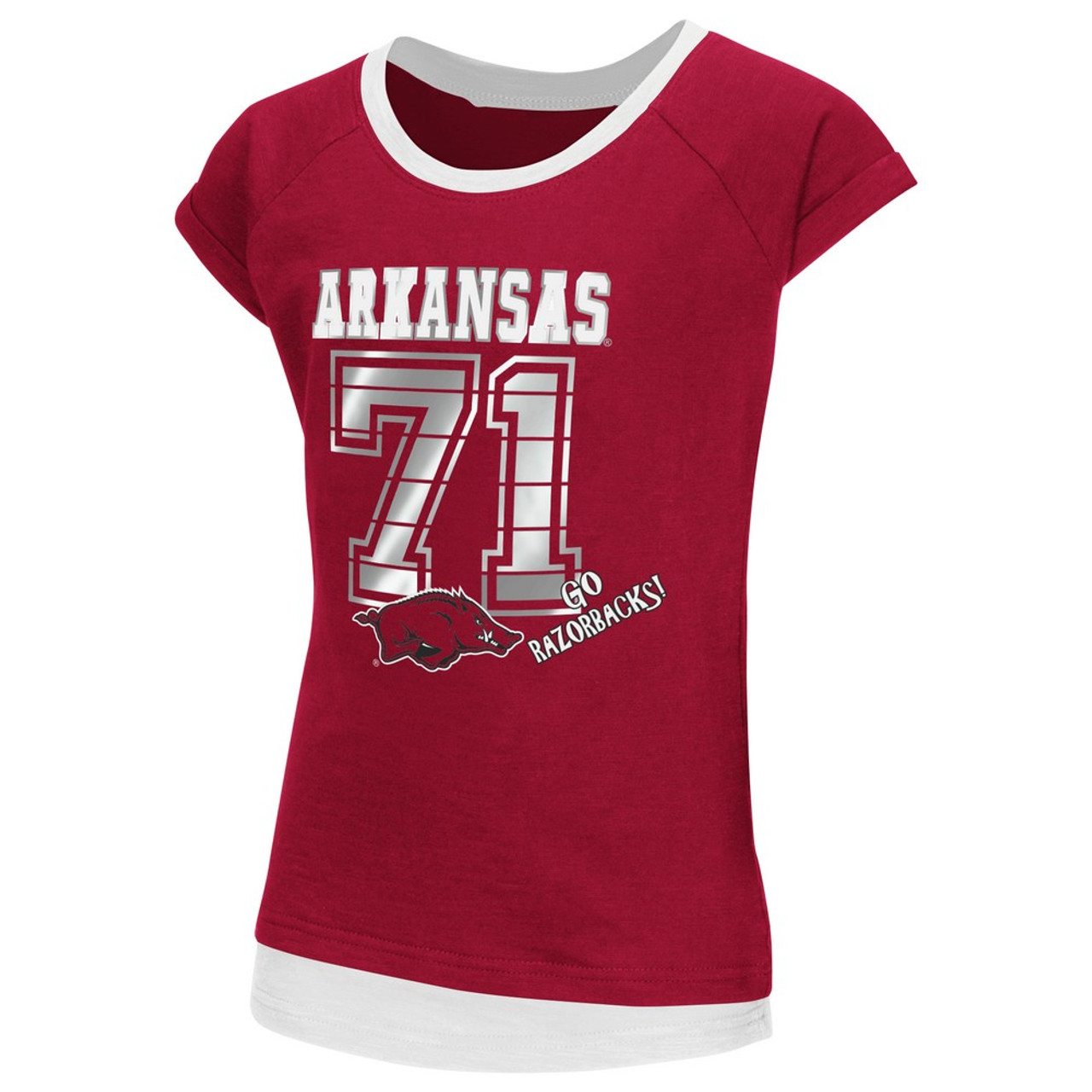 huge selection of 95cac a8a60 Arkansas Razorback Youth Girls Roll Sleeve Tee