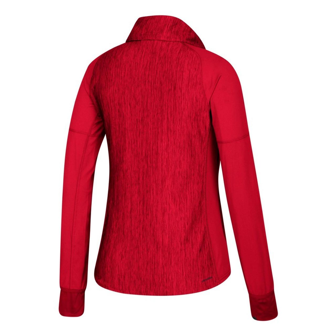 Louisville Cardinals Women's 1/4 Zip Adidas Heathered Jacket