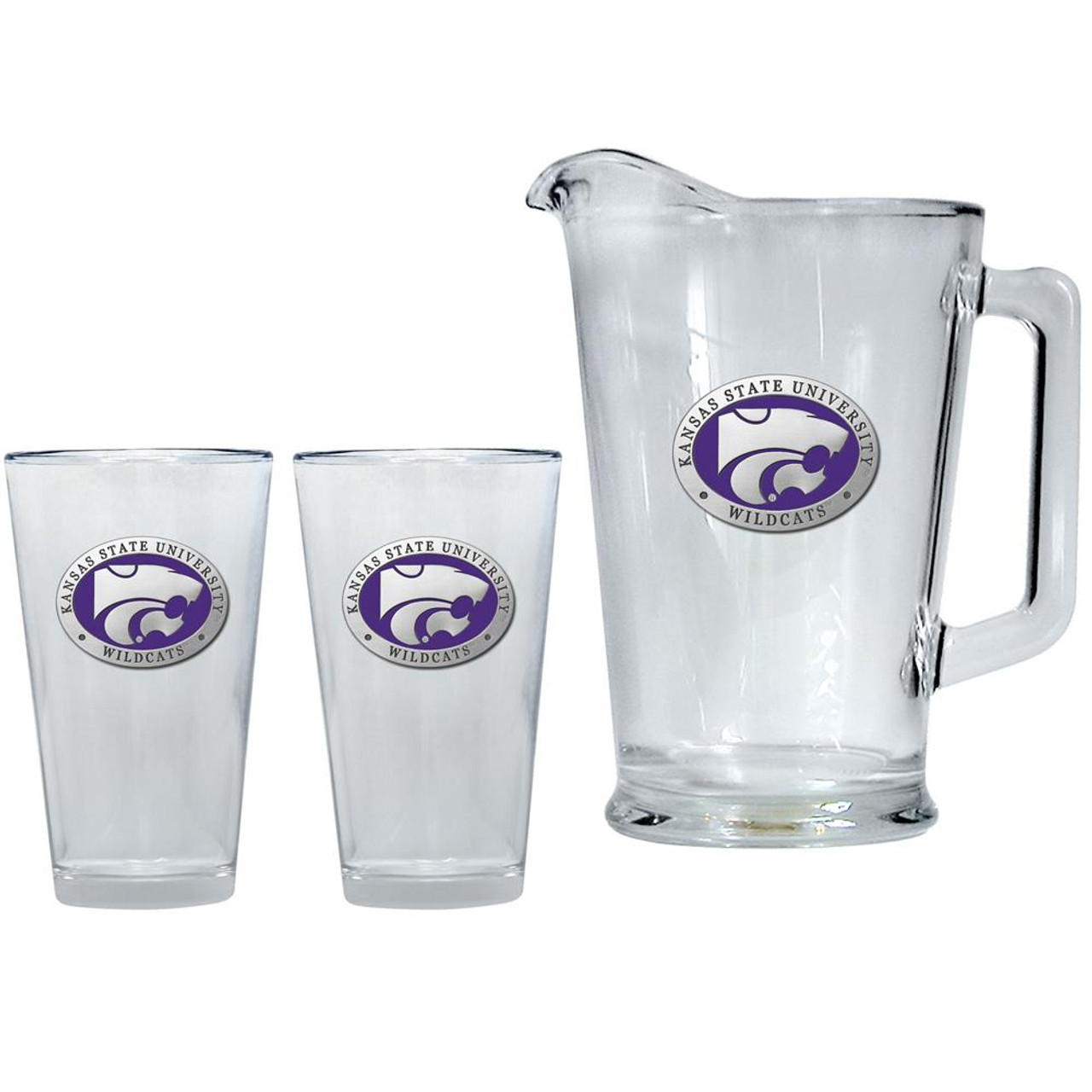 Kansas State University Pitcher and 2 Pint Glass Set Beer Set